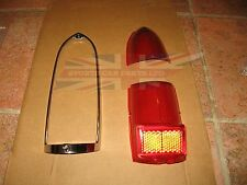 New Tail Lamp Stop Light Lens With Chrome Trim Ring MGB MG Midget 1962-1969
