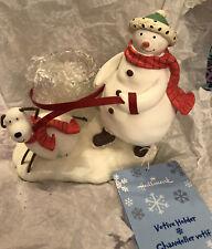 Hallmark~~Snowman Walking Dog Candle Votive Holder