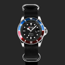 Military Royale Mens Automatic Watch Blue Red Silver Case Black Dial Leather