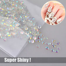1000 Super Shiny Nail Art Flatback Crystal AB Resin Round Rhinestone Beads 3mm