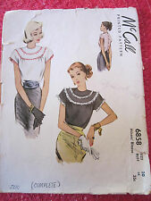 """VINTAGE BLOUSE 1940's  PEASANT TOP McCALL'S 6858 PATTERN PLUS-SIZE 20 BUST 38"""""""