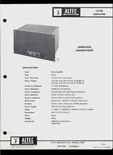 Altec Lansing 1570B Audio Power Amplifier Amp Original Factory Owner's Manual