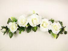 Artificial Flowers Cream Rose Swag / Slim Table Centrepiece Wedding Car Shelf