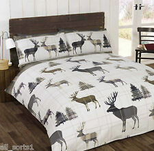 SINGLE BED DUVET COVER SET WOODLAND DEER STAG NATURAL CHECKED WILD LIFE GREY