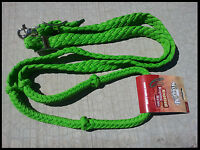 TOUGH-1 KNOTTED CORD REINS ROPING POLY WESTERN 7 FEET LIME GREEN HORSE TACK