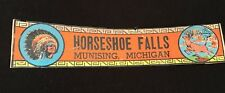 MUNISING Michigan SIGN BUMPER STICKER HORSESHOE FALLS DEER INDIAN