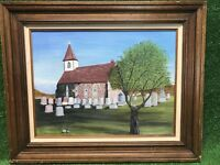 """Original Framed Oil On Canvas Painting Old Cobblestone Church W Cemetery 32""""x26"""""""