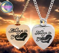 New Always in my heart Urn Cremation Pendant Ash Holder Silver Memorial Necklace