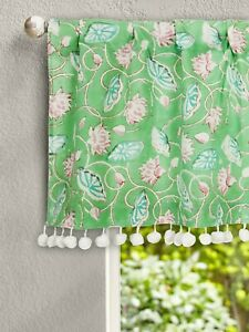 Indisch Hand Block Bedruckt Küche Vorhang Schöne Blumen Druck Fenster Vorhang