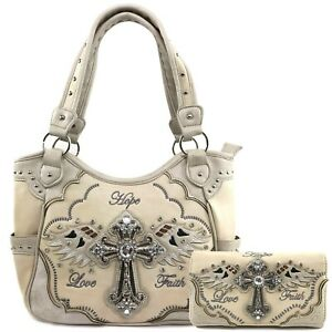 Western Angel Wing Cross Faith Hope Concealed Carry Purse Hand Bag Wallet Set