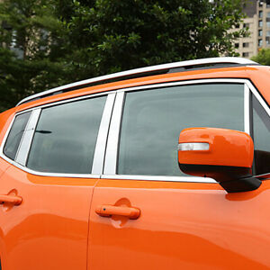 For Jeep Renegade 2015-2018 Stainless Steel Full Window Whole Strips Frame Trim
