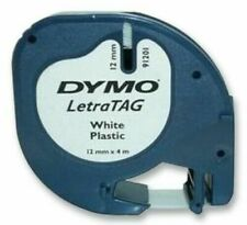 Dymo S0721610 Letratag Plastic Tape - Black/White