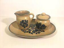 Pfaltzgraff Folk Art Creamer, Sugar Bowl and Platter