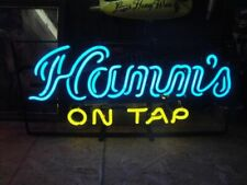 """New Hamm's On Tap Neon Light Sign 24""""x20"""" Lamp Poster Real Glass Beer Bar"""