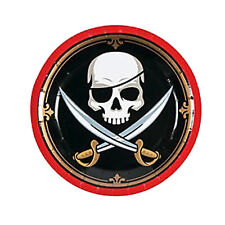 Pirate Skull Dessert Cake Plates Pirates Swords Disposable Paper Plate Pack of 8