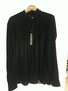 Zara Limited Edition mens Large Velvet Shirt  Grandad collar NEW