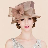 Mesh Linen Wedding Noble Womens Formal Kentucky Derby Church Feather Dress Hat