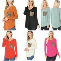 Cute Women's Long Sleeve V Neck With Leopard Print Pocket Sm-3X Tee Shirt Top
