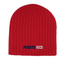 PUERTO RICO FLAG Embroidery Embroidered Beanie Skull Cap Hat Red