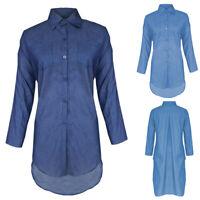 Women Ladies Jeans Denim T-Shirt Long Sleeve Casual Loose Shirt Tops Mini Dress