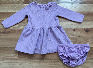 Janie and Jack Baby Girls Lavender Purple Cable Knit Sweater Dress Set 3-6 Month