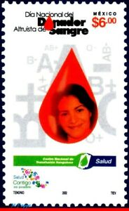2290 MEXICO 2002 NATIONAL DAY BLOOD DONOR, HEALTH, MI# 2998, MNH