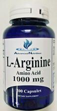 L-Arginine 1000 mg 200 Caps High Potency L Arginine Amino Acid USA Gluten Free