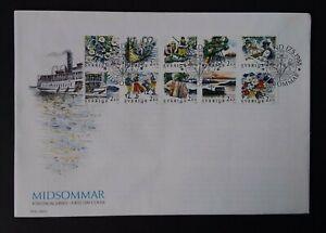 Sweden 1988 SG1389/98 Rebate Stamps, Midsummer, Block of 10, FDC
