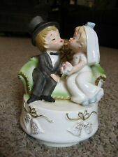 Sankyo Music Box Porcelain Newlywed Couple, Plays ~ Here comes the Bride
