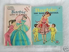 Barbie Book Mattel 1964 Barbie Goes to a Party & Barbie The Baby Sitter