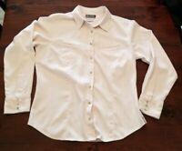 Columbia XCO Womens White Top Blouse Shirt Pearl Snap Button Long Sleeve Medium