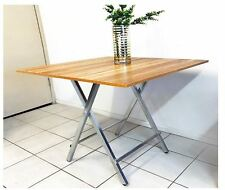 New Grace Steel and Wood Folding Portable Dining Table Square 80cm Oak Laminate