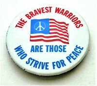 Anti War Flag Peace Sign Brave Warriors 1970s Button Pin NOS New Original