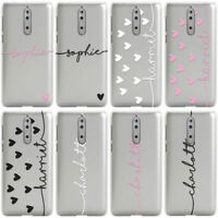 DYEFOR PERSONALISED NAME & HEARTS CUSTOM CLEAR PHONE CASE COVER FOR NOKIA