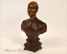 Buste de Femme en Bois Sculpté, Art populaire, 19e