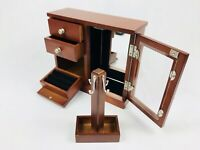 Vintage Jewellery Wooden Antique Box Mirrored Wardrobe Style Beautiful!