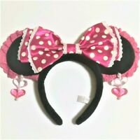 Tokyo Disney Resort Headband Minnie Mouse Pink Bow Earrings Polka dot F/S Japan