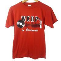 Vintage WKRP In Cincinnati T-Shirt Adult Small USA Single Stitch Red TV Program