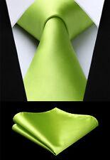 """Wedding 3.4"""" silk Woven Men Tie Solid Green Necktie Handkerchief Set#TL201G18S"""