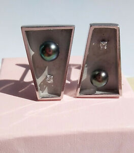 Vintage Modernist 14kt White Gold Diamond & Black Pearl Cuff Links 13.8g