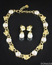 Vintage Givenchy Set - Neclace and Earrings Gold Tone & Pearls 92.5 Grams