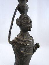 African Sand Cast Bronze Bamileke Tribe Woman Feeding Infant
