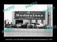 OLD LARGE HISTORIC PHOTO OF AUSTIN TEXAS, THE BUDWEISER BEER WAREHOUSE c1950