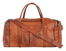 Men's Genuine Leather Travel Gym Vacation Luggage Duffel Vintage Brown Tote Bag