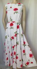 Laura Ashley vestido de verano 42 44 rosas flores blanco rosa rojo verde algodón Lang