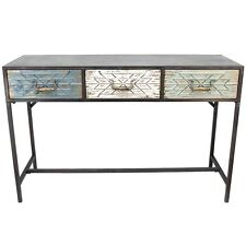 AZTEC CONSOLE TABLE W/ 3 DRAWER METAL FRAME TIMBER HALLWAY DISPLAY DESK