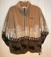Black Mountain Outdoor Fleece Pull Over Sweater Size Large Moose Print