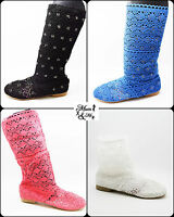 NEW Women Ladies Pull On Knitted Shoes Summer Boots Flat Sandals Hollow Shoes