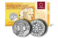 Österreich 5 Euro 2021 Janus - Neujahrsmünze Silber handgehoben im Folder