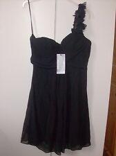 EVER PRETTY LADIES BLACK FLOWER DETAIL ONE SHOULDER PATY PROM DRESS UK SZ 12 NEW